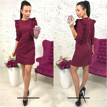 Women Spring Ruffles Dress Casual O-Neck 3/4 Sleeve Tunic Dresses Back Zipper Bodycon