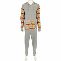 GREY TWO-TONE AZTEC PRINT Onesuit