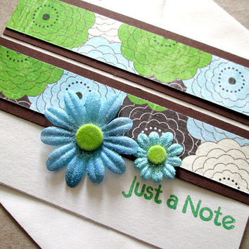 Blank Card Just a Note Blue, Green Flowers