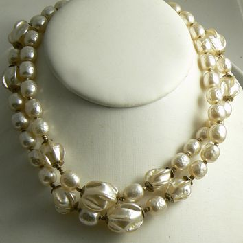 Fancy Extra Long Miriam Haskell Ruffled Baroque Pearl Necklace