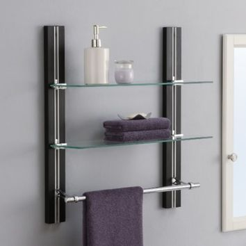 Bathroom Shelves Wall Mounted Wood Towel Rack Adjustable Shelf Storage Organizer