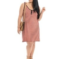 salmon Striped Scoop Neck Dress | $10 | Cheap Trendy Casual Dresses Chic Discount Fashion for Women
