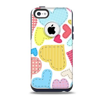 The Fun Colored Heart Patches Skin for the iPhone 5c OtterBox Commuter Case
