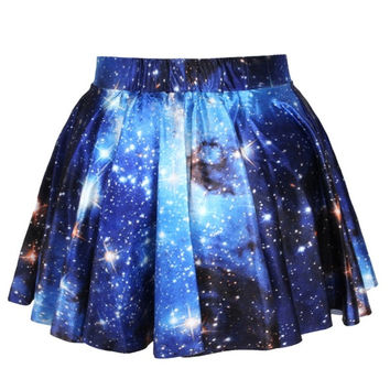 Galaxy Blue Skater Circle Skirt Dress Woman Mini Dress Stars-Nebula-Shiny -Galaxy Clothing = 1945889860