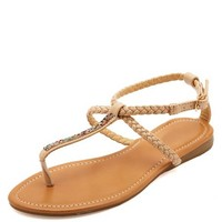 BRAIDED & BEJEWELED T-STRAP THONG SANDALS