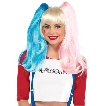 Deviant Doll wig with clip on pony tails in MULTICOLOR
