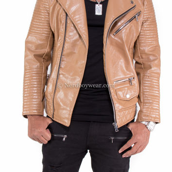 Smoke Rise Vegan Leather Biker Jacket (Brown)