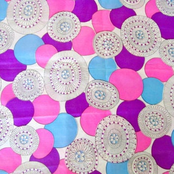 Vintage fabric Mod Art Deco Purple circle Satin Fabric turquoise pink geometric 2 1/3 yards