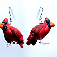 Cardinal Earrings, Bird Earrings, Handmade Cardinal Earrings, Run and Whimsical  Cardinal Earrings, Fun and Whimsical Cardinal Earrings,