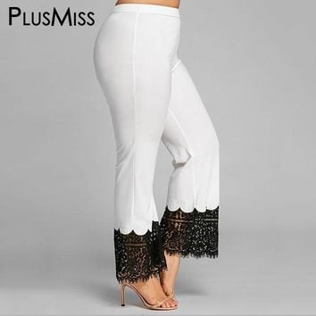2018 PlusMiss Plus Size 5XL Lace Crochet White Palazzo Pants Capris Women Sexy