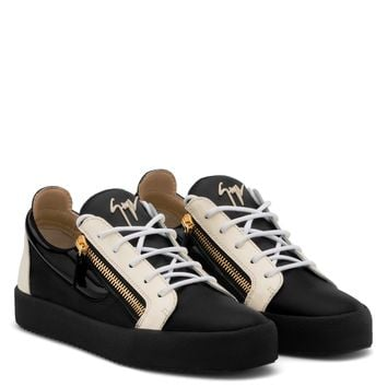 Giuseppe Zanotti Gz Frankie Black Calfskin Leather Low-top Sneaker With White Patent Leather Insert