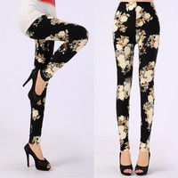 Patterned Leggings Soft Microfiber with Colorful Printed