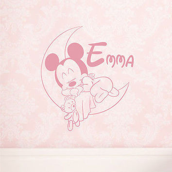 Girl Name Wall Decal Personalized Mickey Mouse Decals Nursery Room Decor DS402