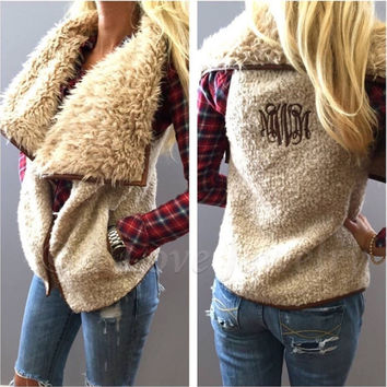 Fashion Women's Boho Irregular Cardigans Winter Faux Fur Vest Sleeveless Outerwear Gilet Waistcoat Jacket S M L