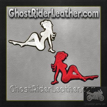 Two Sexy Mudflap Girl Patches in Red and White / SKU GRL-PAT-D525-D524-DL