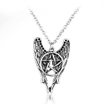 Supernatural Pentagram Pentacle Angel Wings Necklace&Pendant Jewelry TV Chain Collier for Unisex