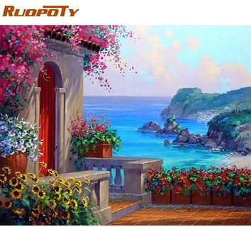 RUOPOTY Frame Picture Seascape DIY Painting By Numbers Modern Wall Art Landscape Paint By Numbers For Home Wall Decor 40x50cm