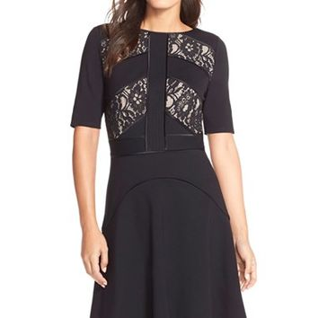 Women's Nue by Shani Lace Inset Ponte Fit & Flare Dress,