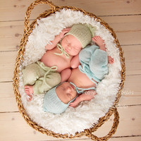 Knitted baby pants and bonnet Mohair Newborn hat and pants set Photography prop