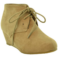 Kids Ankle Boots Faux Suede Low Heel Casual Wedges Taupe