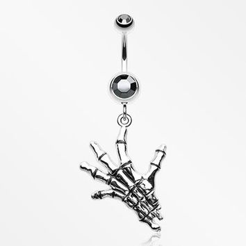 Hand of Death Skeleton Belly Button Ring