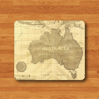 Vintage AUSTRALIA Map Mouse Antique Big Island World Atlas MousePad Old Poster Rectangle Mat Personalized Gift Desk Deco Chirstmas Love Gift