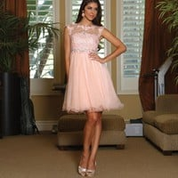 Beautiful Cap Sleeve Lace Applique Sequins Short Mesh Beaded Party Dress
