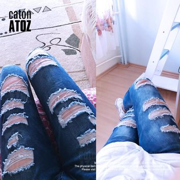*Online Exclusive* Ripped Denim Skinny Jeans