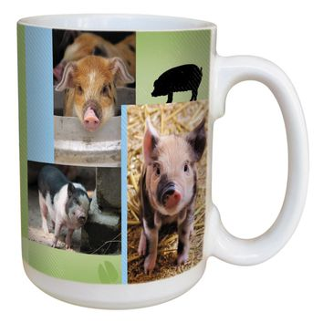 Pig Collage Mug - Large 15 oz Ceramic Coffee Mug