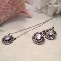 Swarovski CRYSTAL HALO PENDANT and earring  set with 39ss center stone with surrounding crystals. antique silver #185
