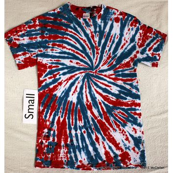 Adult Small Tie-Dye Spiderweb tee in Red White & Blue