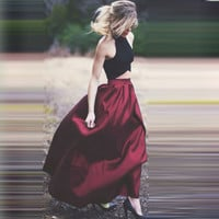 Fashipn 2 Pieces Prom Drseses Black Tank Long Prom Gowns Burgundy Long Cheap Party Dress Purple Dark Green Royal Blue