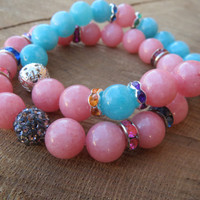 Women Pastel Color Bracelets, Blue Aquamarine Soft Pink Morganite Bling Rhinestones Glamarous Fashion Modern Bracelets, Gift For Her