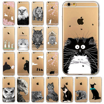 Soft TPU Silicon Transparent Thin Cover Black Cat Owl Rabbit Animal  iPhone 6 6s iPhone 6 6s Plus iPhone 5 5s iPhone 4 4s iPhone 5c Case Cover