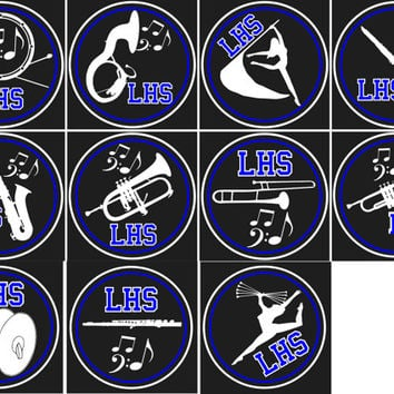 Marching band car decal trumpet trombone flute majorette guard flag clarinet sax drums percussion tuba