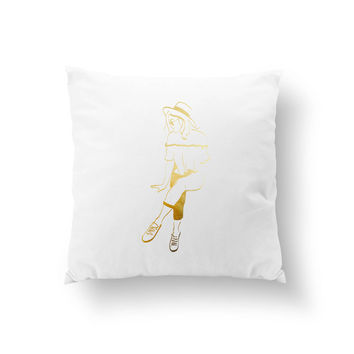 Summer Woman Outfit Pillow, Decorative Pillow, Fashion Pillow, Casual Style, Throw Pillow, Cushion Cover,  Fashion Chic,Fashion Illustration