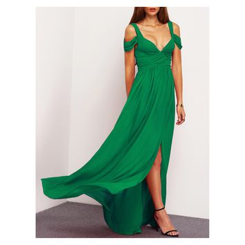 Green Cold Shoulder Ruched Side Slit Maxi Dress