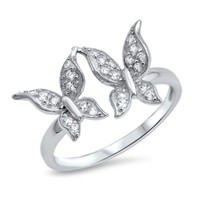 .925 Sterling Silver 13MM TWO PRETTY BUTTERFLIES CLEAR CZ DESIGN RING SIZES 5-10