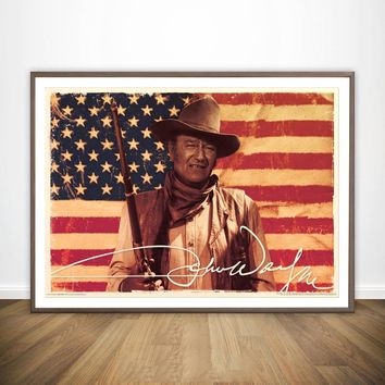 JOHN WAYNE - AMERICAN FLAG Movie Wall Art Wall Decor Silk Prints Art Poster Paintings for Living Room No Frame