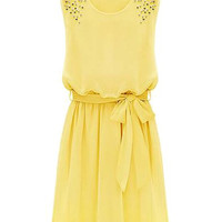Yellow Sleeveless Chiffon Dress with Beads