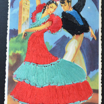 Spanish Dancers Postcard, Silk Applied Postcard, Spanish Senorita Card, Fashion Beauty Postcard, Silk Dress Postcard, Artist Elsie Gumier
