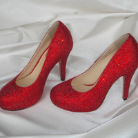 Shinning crystal shoes for wedding , party or daily use red - 3cm heels and 10cm heels