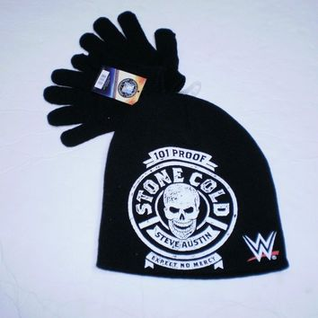 Brand New WWE Youth Stone Cold Steve Austin Printed  Knit Beanie And Glove Set