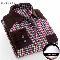 Men Thickening Plaid Shirt Thicker Fleece Shirt Winter Velvet Thicken Warm Duck Down Shirt Male