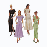 1990s DRESS PATTERN V-Back Side Slit Party Bridesmaid Evening Spring Summer Size 12 14 16 Bust 34 36 38 McCalls 8535 Womens Sewing Patterns
