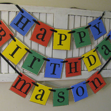 Personalized Happy Birthday Banner in Bright Primary Colors Garland Bunting Fantastic Birthday Party Decoration and Photo Prop