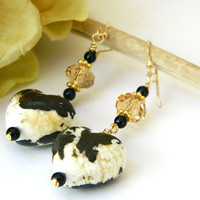 Unique Black and White Heart Earrings Handcrafted Valentine Gold Crystal Jewelry Short Dangle