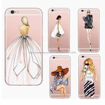 LMFUS4 New Arrival Beautiful Fashion Girl Painted Ultra Thin Soft TPU Phone Case Cover for Apple iPhone 6 6S Plus Rubber Funda Cover
