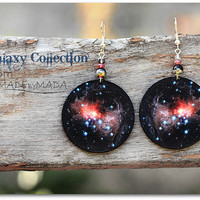 Universe Earrings Nebula Space Dangle Round Jewelry, diameter 4cm (1,57 inch) , gift for her under 25