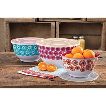 "The Pioneer Woman ""Happiness"" Melamine Mixing Bowl Sets with Lids - Set of 3"